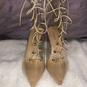 Clear/nude lace up boot heel